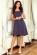 Bavlnene kratke retro saty s volnou sukni po kolena, tmave modre s puntiky S-326-BE (3)