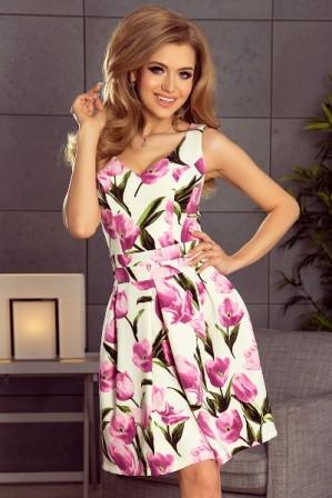 Kvetovane letni spolecenske saty s volnou sukni nad kolena - barevne S-324-Multi (1)