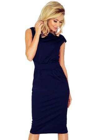 Trictvrtecni elegantni damske saty pod kolena, male rukavy, tmave modre S-330-BE (2)