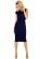 Trictvrtecni elegantni damske saty pod kolena, male rukavy, tmave modre S-330-BE (4)