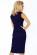 Trictvrtecni elegantni damske saty pod kolena, male rukavy, tmave modre S-330-BE (5)
