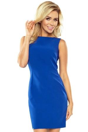 Elegantni kratke damske saty, volnejsi strih, svetle modre S-297-LBE (1)