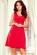 Bavlnene kratke spolecenske  domaci saty s volnou sukni, cervene S-326-RD (1)