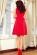 Bavlnene kratke spolecenske  domaci saty s volnou sukni, cervene S-326-RD (2)