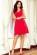 Bavlnene kratke spolecenske  domaci saty s volnou sukni, cervene S-326-RD (3)