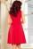 Bavlnene kratke spolecenske  domaci saty s volnou sukni, cervene S-326-RD (4)