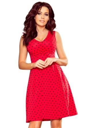 Bavlnene kratke spolecenske  domaci saty s volnou sukni, cervene S-326-RD (5)