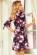 Letni spolecenske saty s volnou spodni casti a trictvrtecnimi rukavy, cerna + kvetiny S-340-Multi (6)